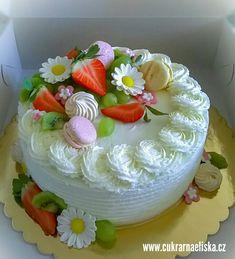 DORT KULATÝ S OVOCEM :-) vanilkový dort se smetanovo-mascarponovým krémem plněný malinami :-) ozdoby čerstvé ovoce, pravý marcipán a makronky :-) info www.cukrarnaeliska.cz :-) #narozeniny #svatba #dort #smetanovydort #slehackovydort Cake Decorating, Decorating Ideas, Desserts, Food, Tailgate Desserts, Deserts, Essen, Postres, Meals