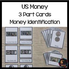 US Money Montessori Three Part Cards (money identification) - montessorikiwi