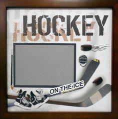 Ice Hockey Scrapbook Page (Walnut Veneer Shadow Box Frame Sold Separately)