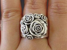 Handmade Vintage Sterling Silver Rose Ring via Etsy. I Love Jewelry, Jewelry Rings, Silver Jewelry, Jewelry Accessories, Jewelry Design, Jewlery, Rose Jewelry, Wide Band Rings, Rose Rings