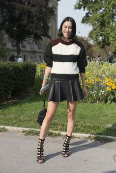 Eva Chen showed off her stems in a leather miniskirt and cage heels.