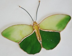 Stained Glass Butterfly Suncatcher Green $15.00