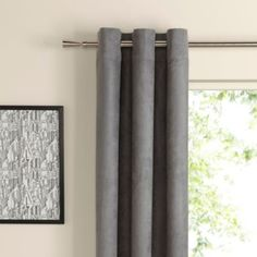 Colours Suedine Eyelet Concrete Curtains (W)2.28m (L)2.28m: Image 1