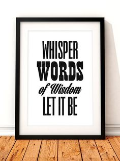 Beatles song lyric art The Beatles art print door TheIndoorType