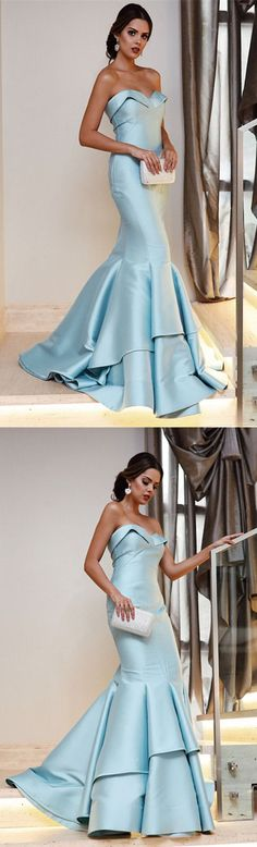 Sweetheart Bodice Corset Satin Prom Dresses Mermaid Evening Gowns