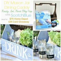 DIY Mason Jar Dining Caddy and Home Depot Giveaway - At The Picket Fence