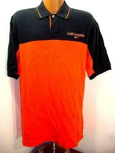 61d984eb7 Hilfiger Athletics Dark Blue and Orange Spelled out SS Polo Rugby Shirt Tag  L  HilfigerAthletics