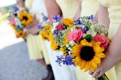 Sunflower, wildflower bouquet. Letography.