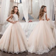 2018 Vintage Flower Girl Dresses For Weddings Blush Pink Custom Made Princess Tutu Sequined Appliqued Lace Bow Kids First Communion Gowns Flower Girls Dress Pageant Girl Dress Little Princess Dress Online with $106.29/Piece on Alegant_lady's Store | DHgate.com