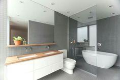 tile floors/walls and floating vanity House, House Bathroom, Bathroom Renos, Bathroom Mirror With Shelf, Modern Bathroom, Modern Basement, Sink Shelf, Bathroom Design, Tile Bathroom