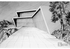 Modern house - pencil drawing. Rysunek nowoczesnego domu ołówkiem. www.kurs-rysunku.com.pl