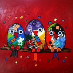 three little birds . Easy Canvas Painting, Dot Painting, Easy Paintings, Canvas Art, Arte Pop, Little Birds, Whimsical Art, Bird Art, Art Lessons