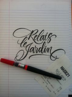 Calligraphy by Barbara Calzolari (using a Pentel pointed brush)