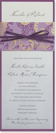 Creative wedding program wording wedding programs wedding simple and elegant eco friendly wedding invitation purple and gold patterned paper wraps tea length invite its amazing you can find recycled solutioingenieria Gallery