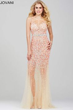 Coral Beaded Prom Dress 21944