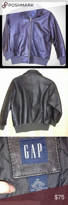 1990s vintage black leather jacket - kid's medium This is a black leather jacket from the Gap.  Kid's size medium.  In excellent vintage condition with the exception of the previous owner's name written on the inside pocket. GAP Jackets & Coats