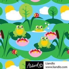 Baumwolljersey Kinderstoff Small Frogs Frosch Frösche Marienkäfer Wolke Liandlo