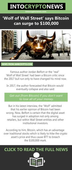 """Famous author Jordan Belfort or the """"real"""" 'Wolf of Wall Street' had been a #Bitcoin critic since the 2017 bull run only to have changed his mind now. According to Belfort, who is also a motivational speaker, the digital asset has the potential to hike by $100,000 in price. Jordan Belfort, Wolf Of Wall Street, Cryptocurrency News, Critic, The 100, Motivational, Author, Canning, Digital"""