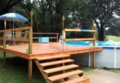 Deck With Posts in Concrete Swimming Pool Decks, Above Ground Swimming Pools, In Ground Pools, Above Ground Pool Landscaping, Small Backyard Pools, Deck Landscaping, Pool Fence, Oberirdische Pools, Gardens