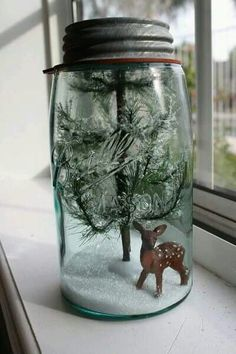 Winter scene in a jar idea