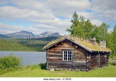 Sweden, Vilhelmina Log cabin at Fatmomakke - Stock Image
