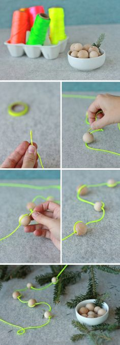Studio ToutPetit: fluorescent string with unpainted wooden beads for garland