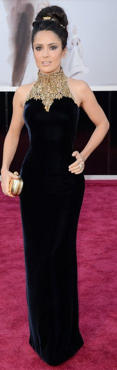 Who made  Salma Hayek's black and gold halter gown that she wore to the 2013 Academy Awards?