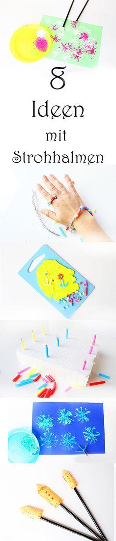 Basteln Malen und Spielen mit Strohhalmen Ideen Trinkröhrchen Drinking Straw Crafts
