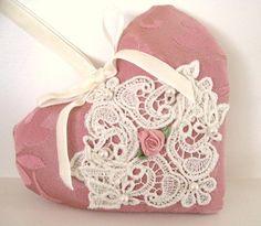 Sachet Heart Cottage Style PINK Damask Venise by CharlotteStyle, $12.50