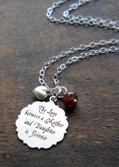 Mother & Daughter Jewelry Hand Stamped Christmas Gift for Mother, Gift for Daughter, Mom Jewelry, Adult Daughter Teen Necklace Sterling, CQ on Etsy, $64.00