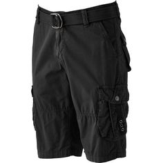 Men's Xray Belted Cargo Shorts ($80) ❤ liked on Polyvore featuring men's fashion, men's clothing, men's shorts, black, men's apparel, mens shorts, mens cargo shorts, mens clothing and mens leopard print shorts