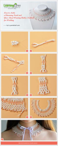 Tutorial on How to Make a Charming Pearl and Glass Bead Weaving Choker Necklace for Wedding from LC.Pandahall.com
