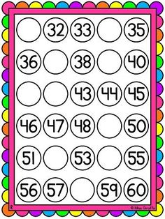 Missing numbers worksheets or activity mats that are so cute! Also in black and white but these color ones are awesome to laminate and use dry erase markers on! 1st Grade Worksheets, Kindergarten Math Worksheets, 1st Grade Math, Teaching Math, Grade 1, Number Sense Activities, Math Tubs, I Love Math, Educational Activities For Kids