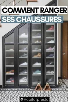 7 Amazing Shoe Storage Ideas From Real Homes is part of Storage furniture bedroom - Whether you're into sneaks or stilettos, there's a storage solution for every shoe collection Shoe Storage Furniture, Closet Shoe Storage, Diy Shoe Rack, Stair Storage, Diy Storage, Wardrobe Storage, Wall Storage, Diy Organization, Diy Shelving