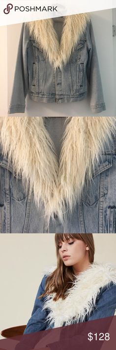 Reformation Sherpa Denim Jacket Vintage denim jacket with faux fur shawl collar by cult fashion favorite Reformation. Be stylish and eco-friendly at the same time in this repurposed denim. Good pre-owned condition - minimal wear. Size S. Light wash. Reformation Jackets & Coats