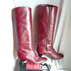 Vintage Leather High Heel Knee Boots Italy size 9 M  Eur 40 UK 6 .5  Arnoldo MARCELLA Wine Maroon by GoodEye on Etsy