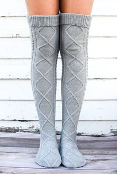 Boot socks: The Cream Diamond Cable Knit Boot Socks are our hi. Cable Knit Socks, Knitting Socks, My Socks, Boot Socks, Boot Cuffs, Big Girl Clothes, Fall Clothes, Socks World, Knee High Stockings