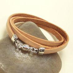 cream leather triple wrap bracelet