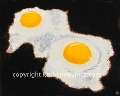 Ever like doing something so much you want to do it again, except differently? Kind of like cooking eggs? Kind of like painting an image of frying eggs? In this painting I wanted to focus on the interesting trails of cooking egg whites because why not?? These eggs are great by themselves or partnered with Eggs One. Who knows? Maybe I will paint the full dozen? The original as well as prints are available on my Etsy site Cooking Egg Whites, Cooking Eggs, Perfect Fried Egg, How To Cook Eggs, Something To Do, Tattoo, Etsy, Painting, Image