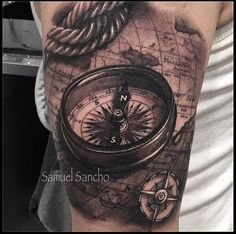 Badass vintage travel piece by Samuel Sancho. wanderlust traveltattoos wanderlusttattoo samuelsancho compass