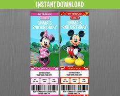 disney vintage minnie u0026 mickey birthday ticket invitations instant download and edit with adobe reader