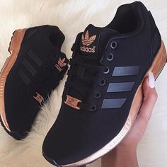 0eb0408a8fcac5 adidas ZX Flux Trainers – Black and Copper (Gold