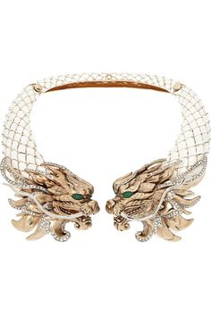 ROBERTO CAVALLI Dragon gold-plated, enamel and Swarovski crystal necklace
