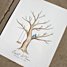 Family Tree - Original Thumb Print Family Tree. Original Water Color Illustration- Custumize on Etsy, $40.00