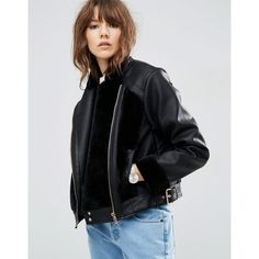 ASOS Leather Look Biker Jacket with Fur Panels ($72) ❤ liked on Polyvore featuring outerwear, jackets, black, vegan motorcycle jacket, faux-leather moto jackets, faux-leather jacket, vegan biker jacket and fake leather jacket