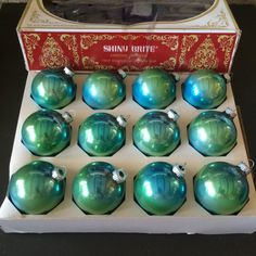 Boxed Set 12 Shiny Brite Iridescent Aqua Glass Bulb Ornaments Vintage 1960s by TinselandFlamingo on Etsy