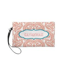 Coral damask personalized Clutch bridesmaid gift Wristlet Clutch by samack