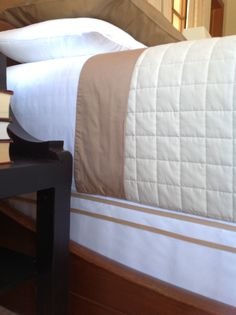 How to cover a box spring (and add a little hotel-bedding style detail / no-sew - mydearirene.com Once Again, My Dear Irene Hotel Bed, Diy Bed, Bed Styling, Bed Pillows, Pillow Cases, Irene, Storage Headboard, Bedding, Cover