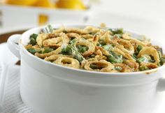 Green bean casserole is an expected dish at every holiday party, but this recipe is so simple you can make it all year! Classic Green Bean Casserole is an easy green bean casserole recipe from Campbell's Kitchen that uses cream of mushroom soup. Thanksgiving Green Bean Casserole, Thanksgiving Green Beans, Classic Green Bean Casserole, Thanksgiving Recipes, Holiday Recipes, Thanksgiving 2017, Large Green Bean Casserole Recipe, Thanksgiving Sides, Christmas Recipes
