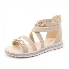 Soft-Soled Flat with Open-Toe Zipper Sandals